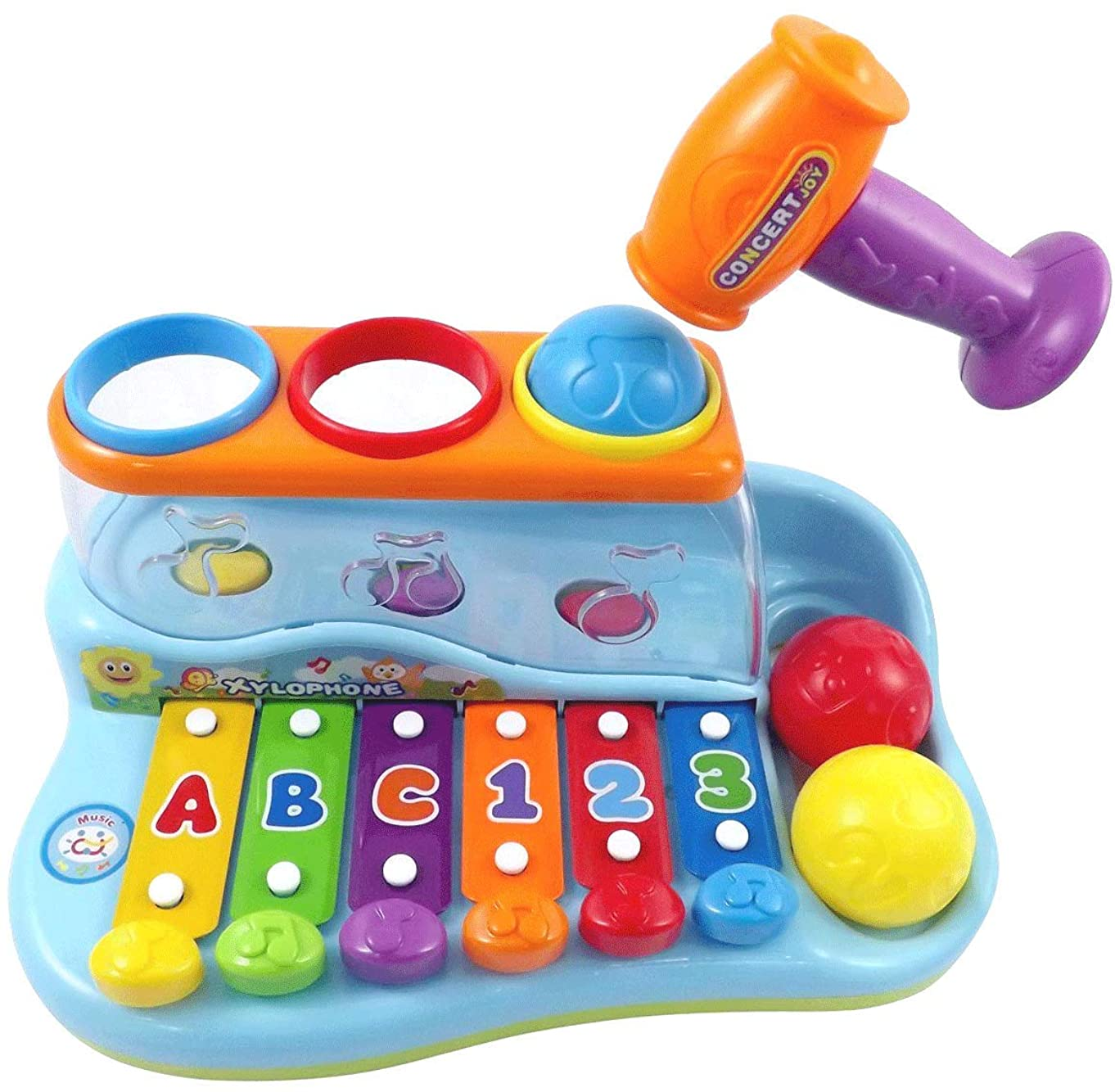 PowerTRC Rainbow Xylophone - Pounding Bench for Kids with Balls and Hammer