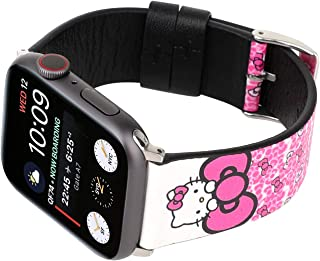 Lovely Style Watch Band Strap Cute Dressy Leather Wristband Bracelet Compatible with 40mm 38mm Apple Watch Series 4/3/2/1 (Pink/White)