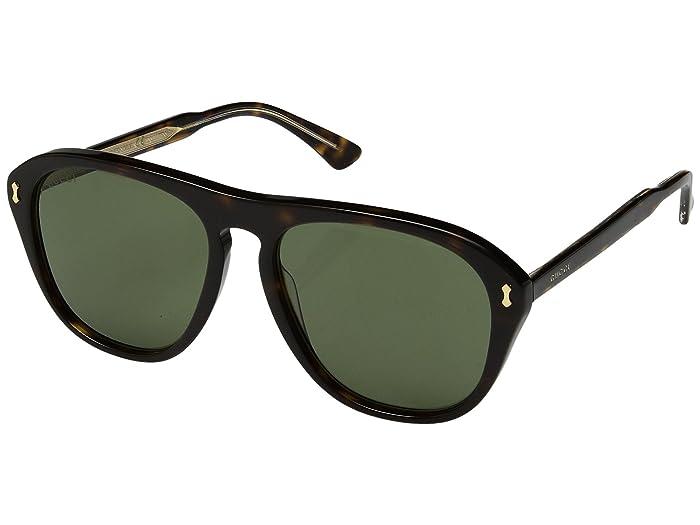 Gucci GG0128S (Dark Havana/Green) Fashion Sunglasses