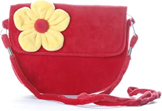 HC Toys LLP fabric Soft Plush Canvas Flower Sling Bag, Red Bag Yellow Flower, 1-10 years