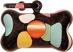 Petego United Pets Bon Ton Pops Polka Dot Dog Waste Bag Dispenser, Black