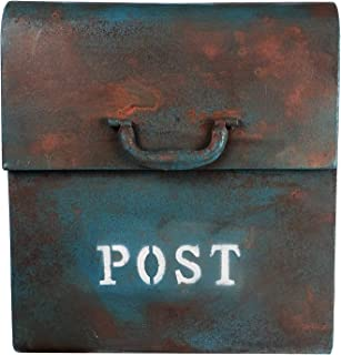 NACH FZ-M1002BLU CJ Powder Coated Finish Wall Mounted Post Box Metal Mailbox, 12.6 x 7.5 x 14.5 Inches, Rustic Blue