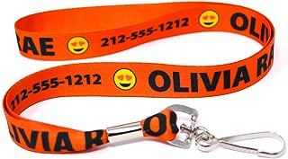 Custom Orange Lanyard, Personalized with Emojis by Hot-Dog-Collars. One 20 Inch ID Badge Lanyard