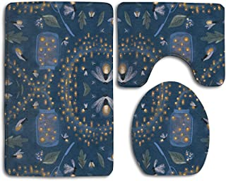 HDISJHF Bathroom Rug Mat - Toilet Seat Cover and Rug - Non-Slip Catching Fireflies Bath Mat Bathroom Kitchen Carpet Doormats
