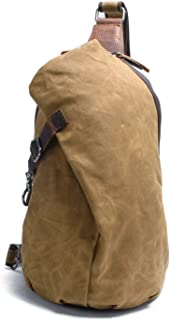 Men's Sling Backpack Waxed Canvas Crossbody Bag Casual Daypacks
