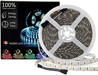 SUPERNIGHT LED Light Strip Waterproof RGBW, RGB + Warm White, 16.4ft/5M SMD 5050 Mixed Color Changing 300 LEDs Flexible Rope Lights for Party,Bedroom,Home,Car,Boat,TV Decor
