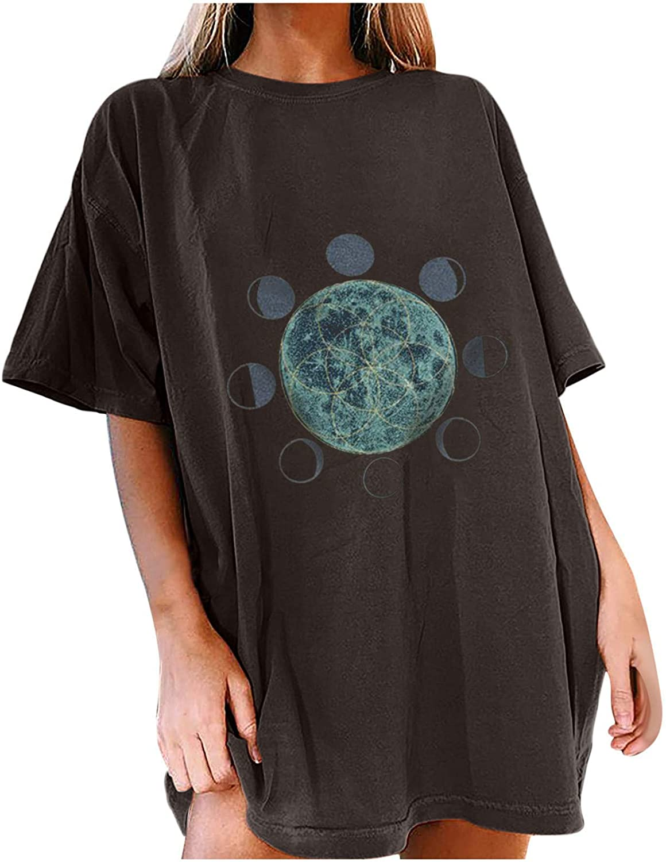 Womens Graphic Tee Novelty Moon Sun Butterfly Print Short Sleeve T-Shirt Summer Tops, Easy To Pair Denim Shorts