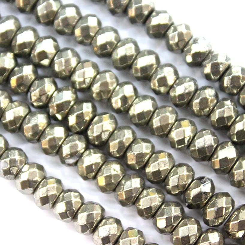 Faceted Natural Pyrite Rondelle Gemstone Beads for Jewerly Making Findings (5*8mm)