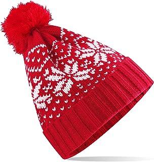 Winter Beanie Hat for Women Men Red Knitted Pompom Skull Caps