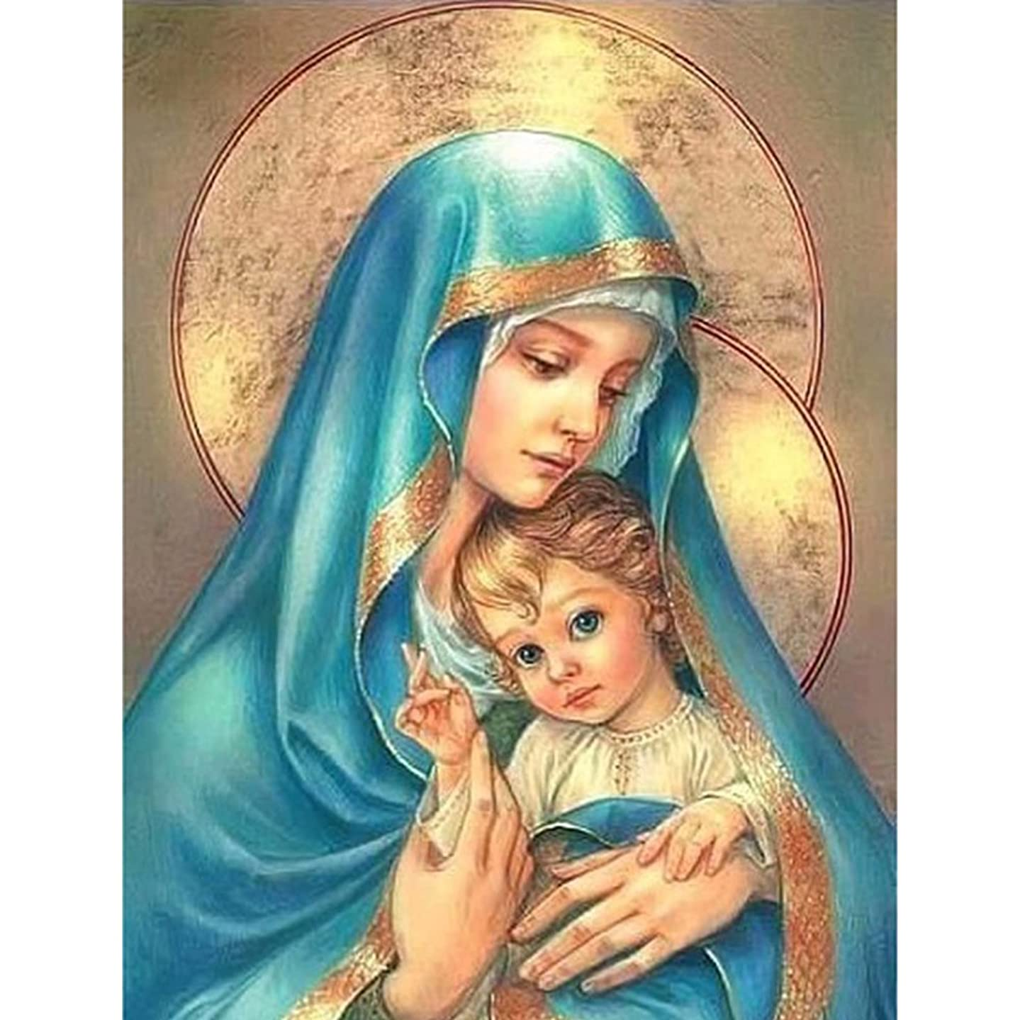 5D Diamond Painting DIY Cross Stitch Painting Kits Arts Crafts, Rhinestone Embroidery for Home Wall Decoration(Madonna and Child)