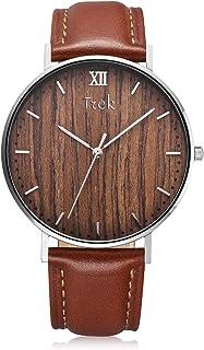 Trek Woodwear Luxury Men's Alouette Wrist Watch with Wood Watch Face - Premium Genuine Leather Band