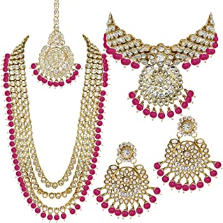 Indian Wedding Kundan Beaded Bridal Long Choker Necklace Earrings with Maang Tikka Traditional Jewelry Set for Women