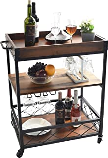 charaHOME Dining cart Kitchen Serving Carts Rolling Bar...