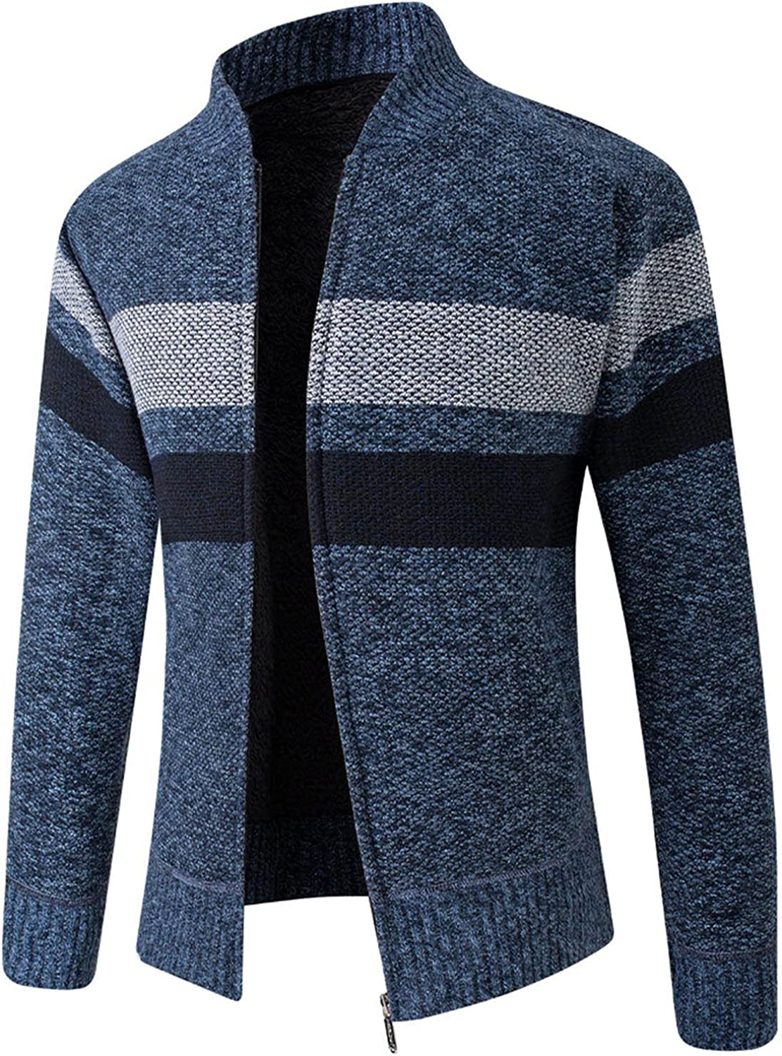 XXBR Sweater Jackets for Mens, Zipper Stand-up Collar Knitted Cardigan Coat Long Sleeve Color Block Patchwork Outerwear