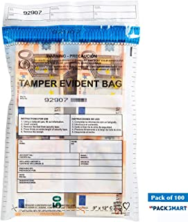 """USPACKSMART Deposit Bags for Cash Handling or Bank Deposits, Level 5 of Security Tape. Size 9""""x12"""" Clear (100 Bags x Package) Ref: 810-00"""