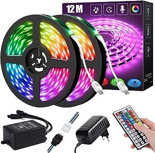 LED-remsa , RGB ränder LED-ljusslinga, LED-remsa RGB 5050 LED-ränder, LED-lampor för sovrum (44Key IR Remote Mic+Music Syn...