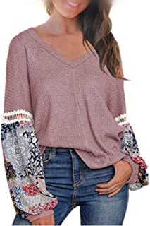 AKEWEI Women's Casual Tops Printed Long Sleeve V Neck T Shirts Loose Pullover Sweater