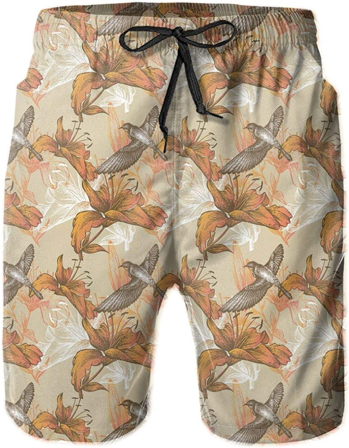 Lilies and Flying Birds Romantic Flowers of Spring Season Valentines Day Sketch Printed Beach Shorts for Men Swim Trucks Mesh Lining,XXL