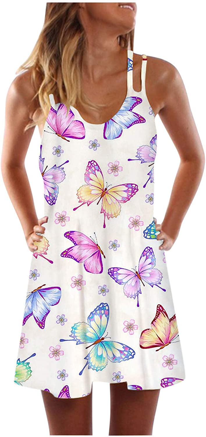 FAMOORE Women's Summer Sleeveless Outlet sale feature Bohemian Max 49% OFF Print Loo Swing Tunic