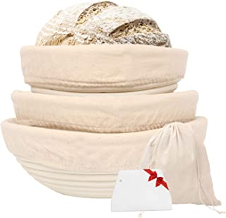 Gesentur Gärkörbchen rund, 3 Gärkörb für Brot Backen, Natürlichem Peddigrohr rund | 20, 22, 25cm mit Leineneinsatz, Teigschaber, Brottasche