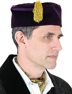 Historical Emporium Men's Velvet Quilted Smoking Cap