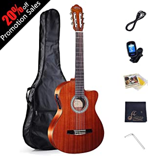"""WINZZ Nylon-string Classical Guitar 39"""" Classical Cutaway with Nylon Strings, Bag, Cleaning Cloth, Tuner and Cable"""