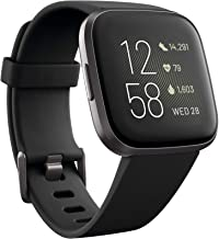 Fitbit Versa 2 (NFC), Health & Fitness Smartwatch with Heart Rate, Music, Sleep & Swim Tracking, One Size (S & L Bands Included), Black/Carbon [Pre-Order]