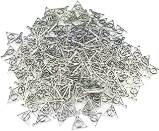 Efivs Arts 200pcs Triangle Silver Deathly Hallows Charms Pendants 13mm