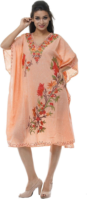 Odishabazaar Kashmiri Embroidered Womens Beachwear Cover up Swimsuit Swimwear Dress Caftan(uik-252)