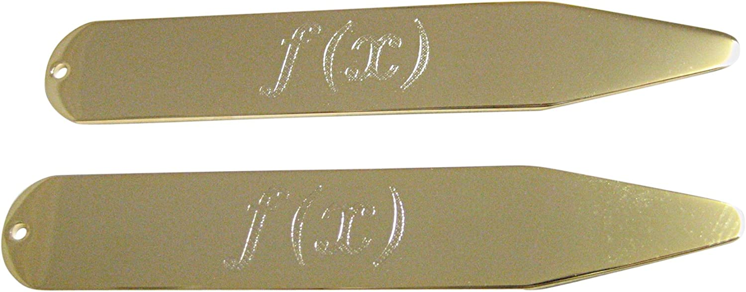 Gold Toned Etched Mathematical Function of X Collar Stays
