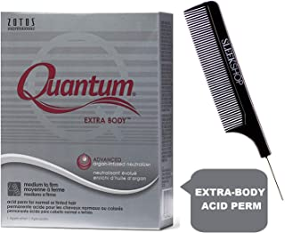 Zotos QUANTUM EXTRA BODY Classic Acid Perm, MEDIUM TO FIRM CURLS, for Normal or Tinted Hair (with Sleek Steel Pin Tail Comb) (EXTRA BODY, CLASSIC ACID)
