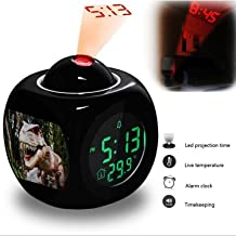 GIRLSIGHT Projection Alarm Clock Wake Up Bedroom with Data and Temperature Display Talking Function, LED Wall/Ceiling Projection, Dinosaur-212.319_Dinosaur, Robot, Jurassic