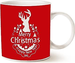 MAUAG Christmas Gifts Holiday Coffee Mug, Wish You a Merry Christmas and Happy New Year Rangifer Tarandus Ceramic Cup, Red 14Oz