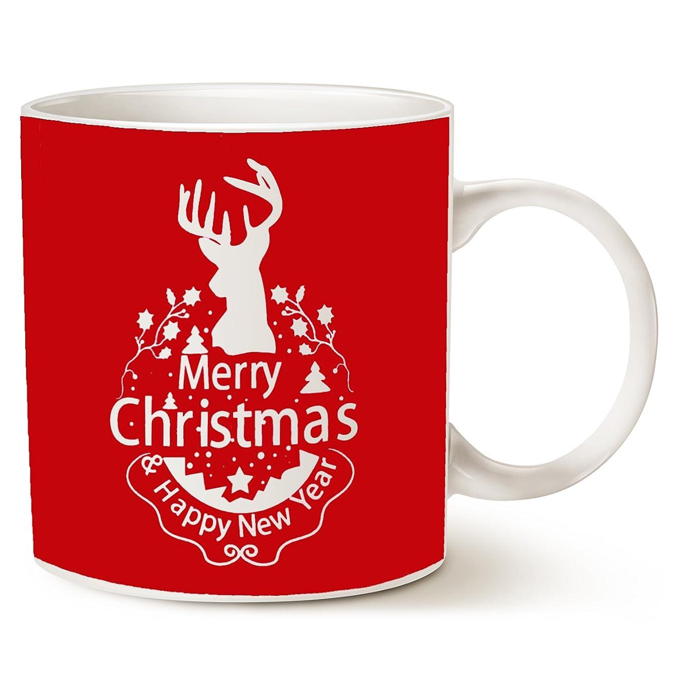 Christmas Gifts Holiday Coffee Mug, Wish You a Merry Christmas and Happy New Year Rangifer Tarandus Ceramic Cup, Red 14Oz