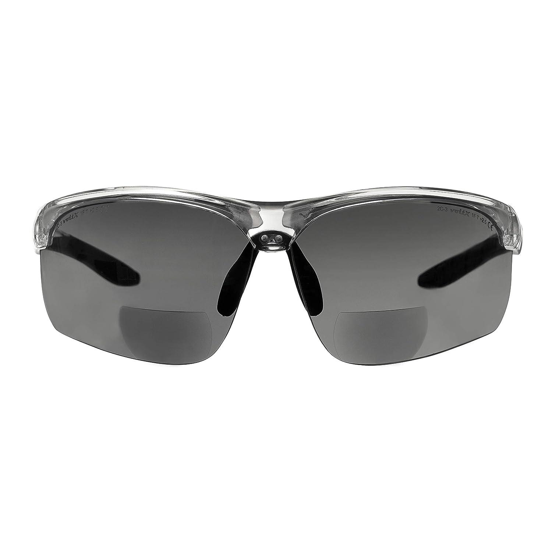 Gafas bifocales de seguridad para lectura voltX 'CONSTRUCTOR ULTIMATE' (montura transparente, lentes ahumadas, Dioptría +1.5) CE EN166FT - Bifocales Ciclismo PREMIUM - UV400