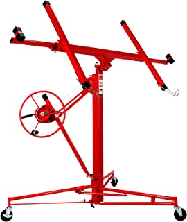 Artist Hand 11' Drywall Lift Rolling Panel Hoist Jack Lifter Construction Caster Wheels Lockable Tool Red