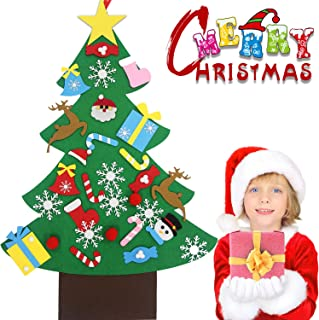 Bdwing Felt Christmas Tree Set - 3.2ft 3D DIY Set with 30 pcs Ornaments, Xmas Decor Gifts for Kids, New Year Handmade Christmas Door Wall Hanging Decorations, Party Supplies