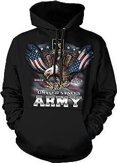 US Army Hoodie Since 1775 Eagle with American Flag Wings Hooded Sweatshirt