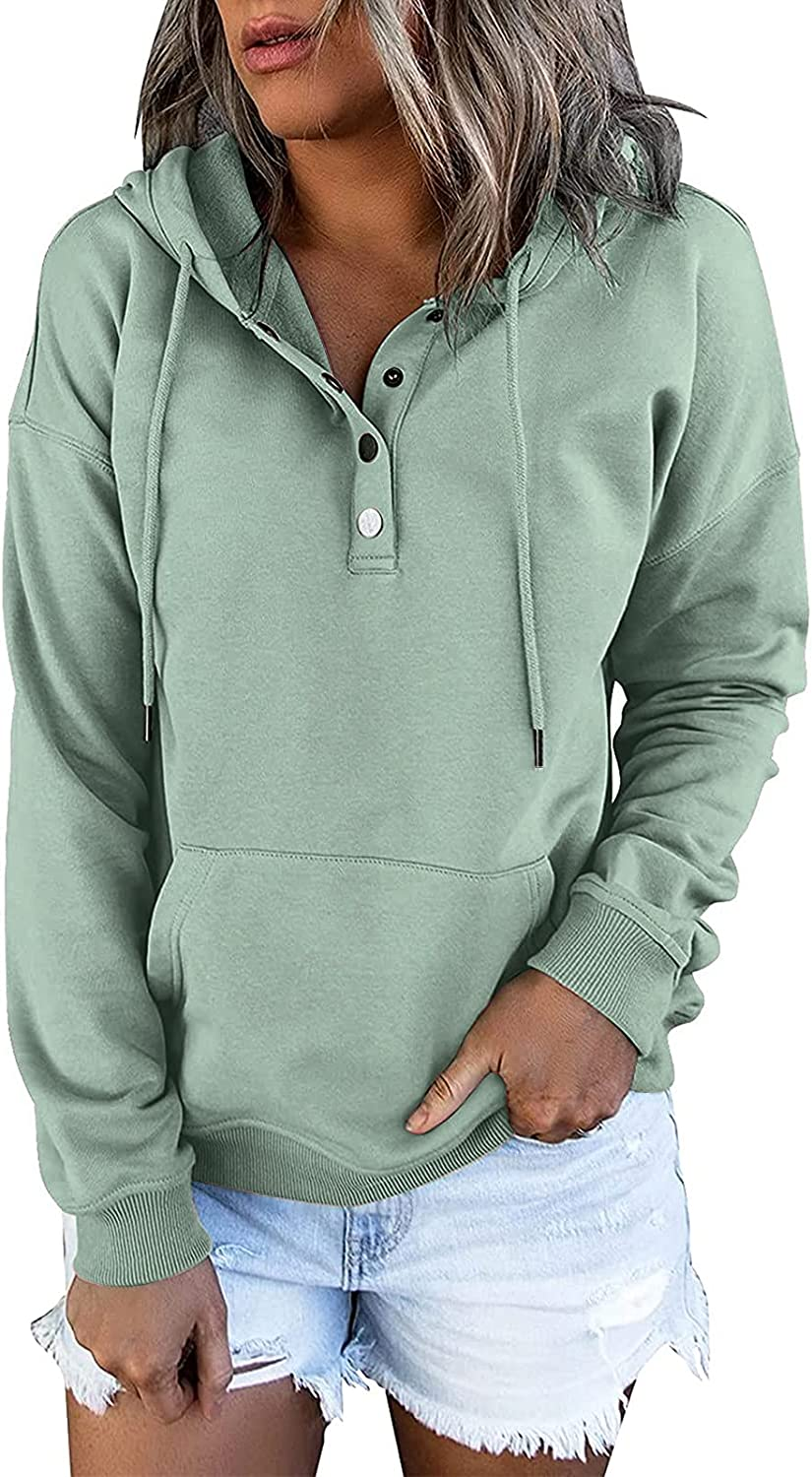 Womens Hooded Pullover Button Ranking TOP20 OFFicial Down Sleeve Casual Drawstring Long
