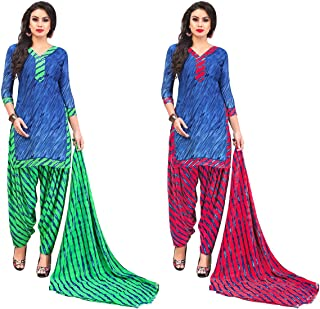 Jevi Prints - Pack of 2 Unstitched Women's Unstitched Synthetic Crepe Salwar Suit Dupatta Material (R-9158_C-9158_D)