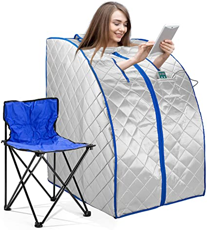 Amazon.com : Infrared FAR IR Negative Ion Portable Indoor Personal Spa Sauna  by Durherm with Air Ionizer, Heating Foot Pad and Chair, 30 Minutes Timer,  Large, Silver : Patio, Lawn & Garden