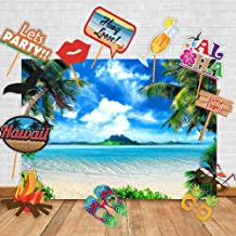 Art Studio Hawaii Sea Beach Photography Backdrops Luau Party and Studio Props DIY Kit.Summer Ocean Photo Booth Wedding Party Decoration Background Birthday Studio Props Vinyl