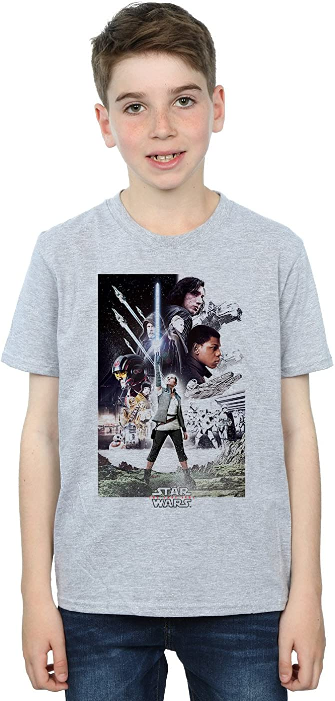 STAR WARS Boys The Last Jedi Character Poster T-Shirt 12-13 Years Sport Grey