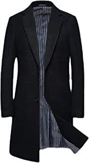 Greatideal Mens Coats Thick Wool Coats Cashmere Crombie Jacket Long Elegant Outwear Slim Fit Trench Coat