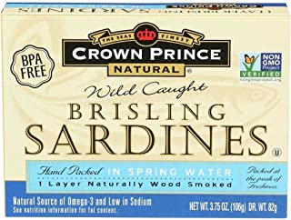 Crown Prince Brisling Sardines in Spring Water, 3.75 Ounce -- 12 per case.