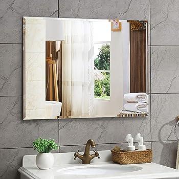 Creative Arts n Frames Big Size Frame Less Beveled Plain Mirror for Dressing, Bathroom, Living Room, Entrance and Makeup with Multipurpose Shelf (24 x 36 inch, Silver)