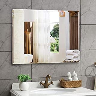 Creative Arts n Frames 24 x 36 inch Big Size Frame Less Beveled Mirror for Dressing,Bathroom, Living Room, Entrance and Makeup Mirror with Shelf || Mirror with Multipurpose Shelf || (Plain)