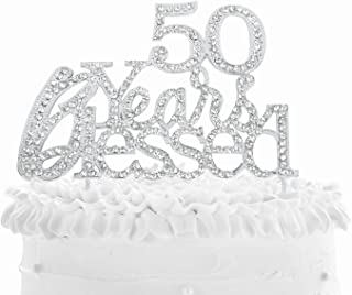 50 Years Blessed Cake Topper for 50 Years Old Birthday Or 50th Wedding Anniversary Party Decoration Silver