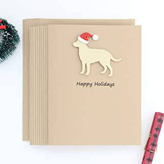 Yellow Lab Christmas Cards Labrador Retriever 10 Pack with Santa Hat British Lab Christmas Cards Happy Holiday Cards Dog Silhouette
