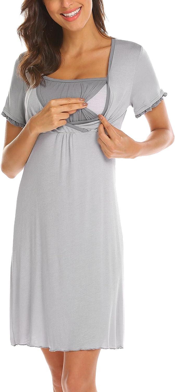 Aimado Maternity Nursing Dress Womens Casual Short Sleeve Breastfeeding Nightgown SXXL